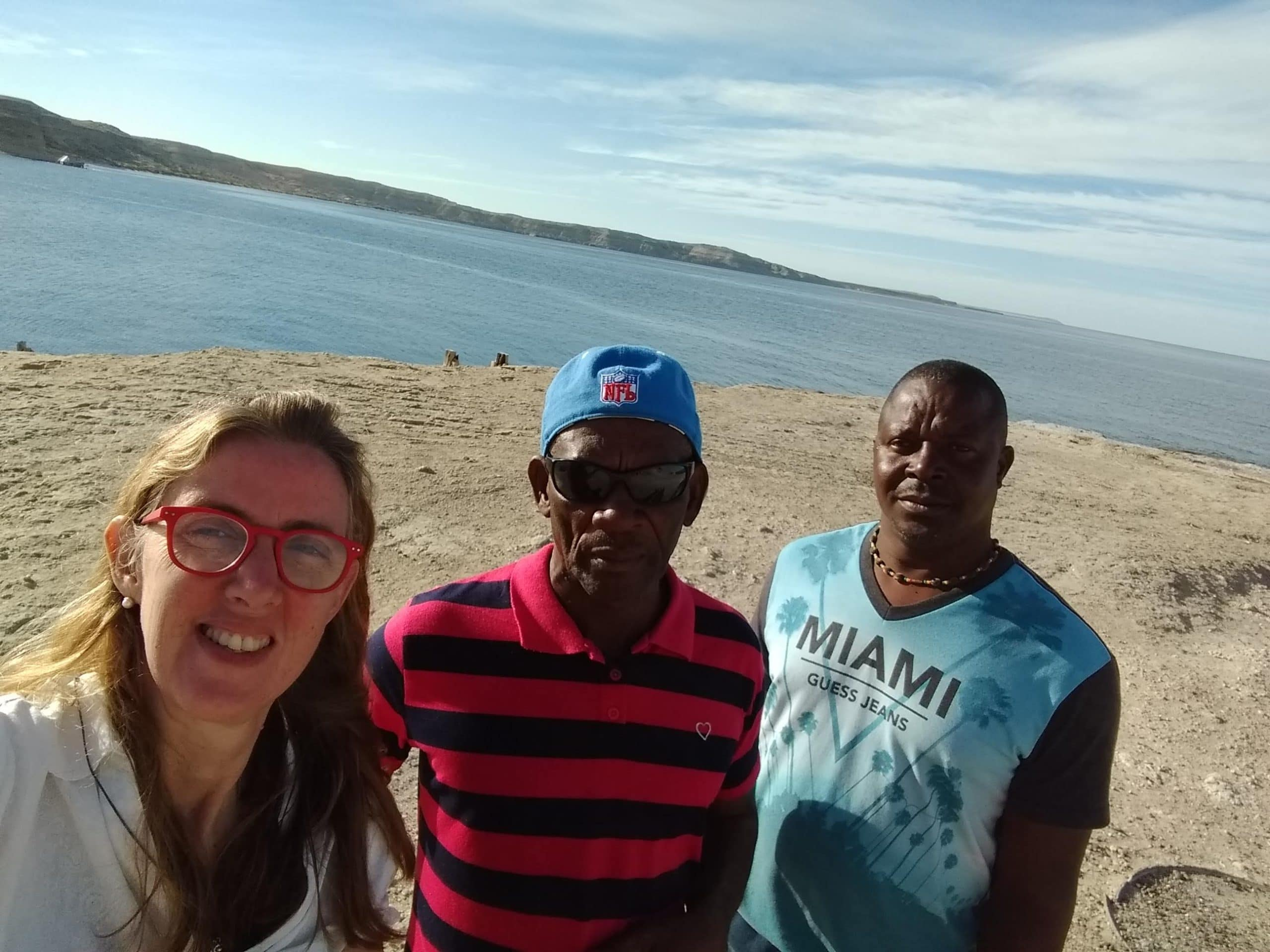 From left: Carolina with Lennox and Kirk at Península Valdés