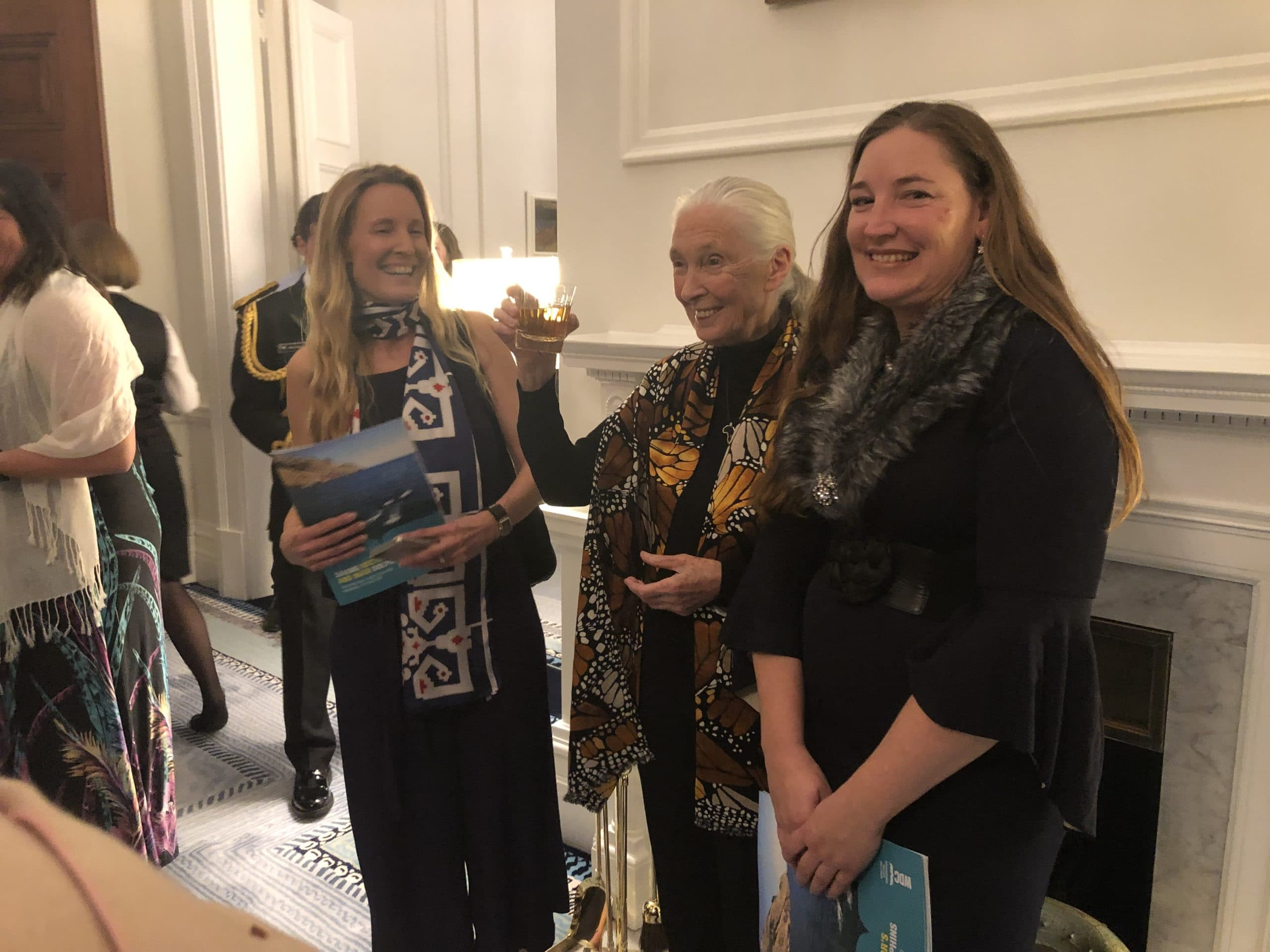 WDC's Philippa Brakes and Gemma McGrath talk with Jane Goodall about our campaign to save New Zealand dolphins