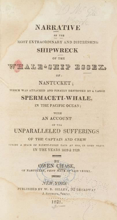 Title page of book by survivor Owen Chase on the story of the Essex - Digital Public Library of America