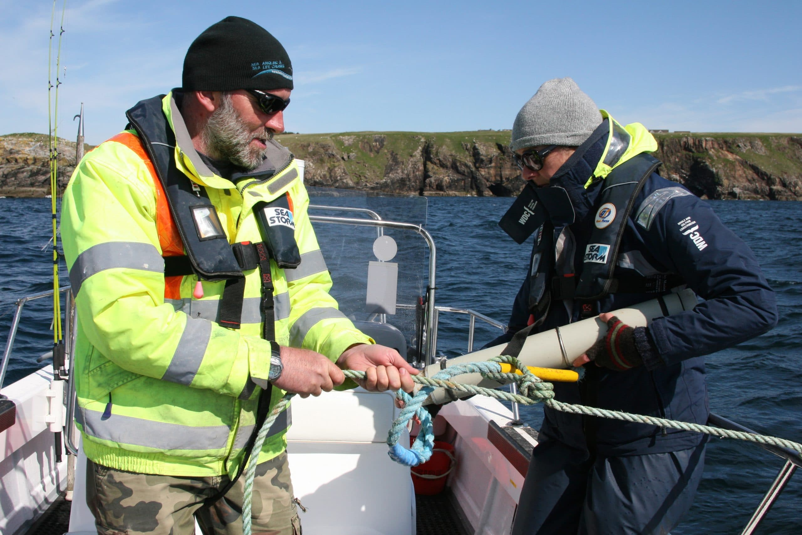 Our skipper and me  deploying acoustic recorders