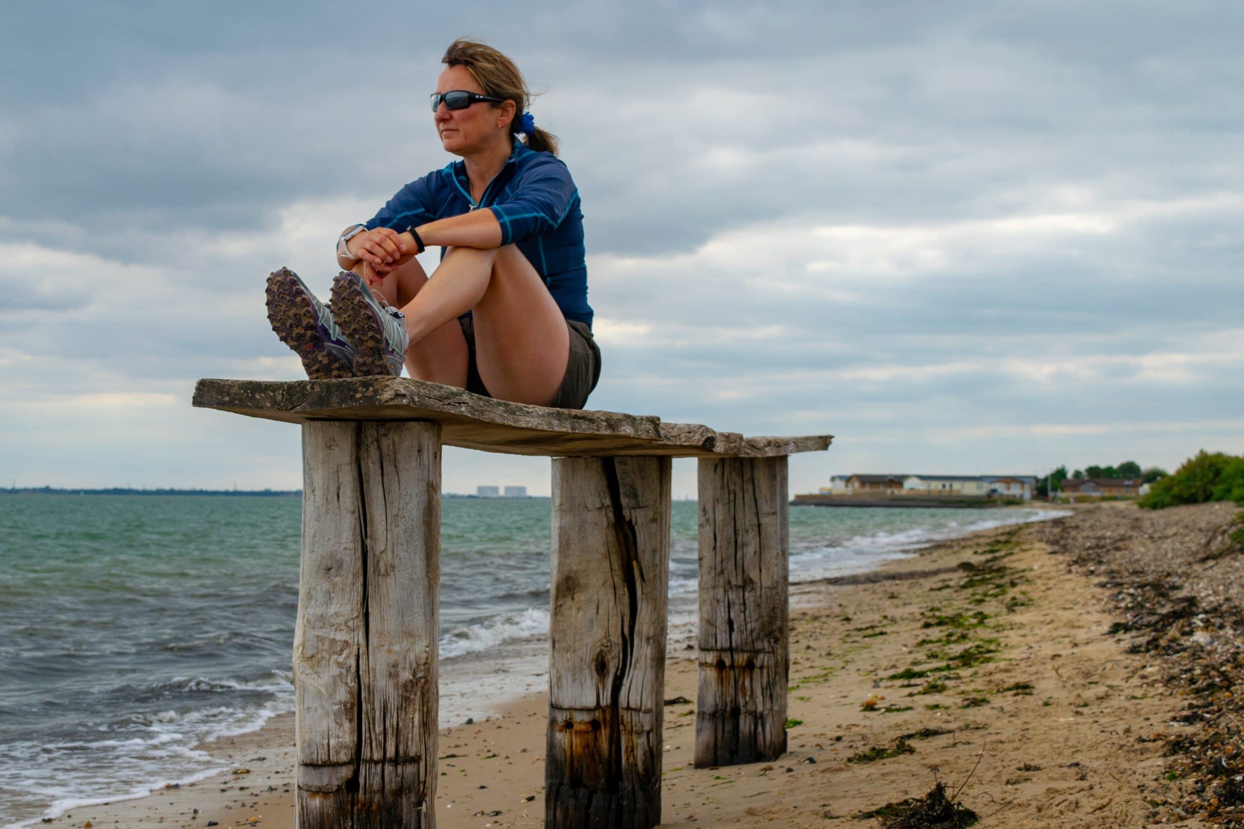 Lisa Drewe on island of Mersea Lisa Drewe