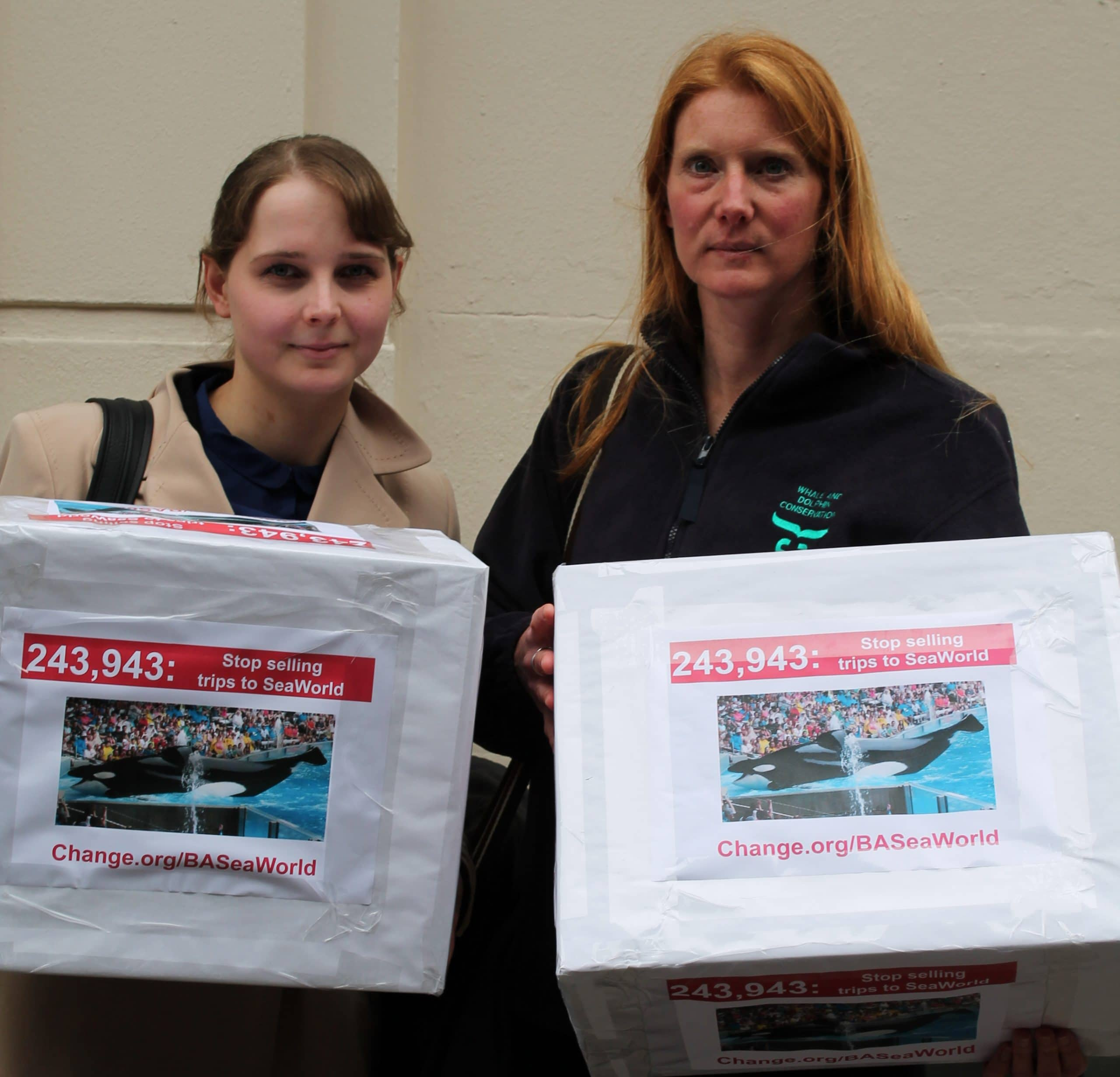 Here I am (left) with Cathy from WDC and our boxes of signatures, just before we went in to the meeting with British Airways.