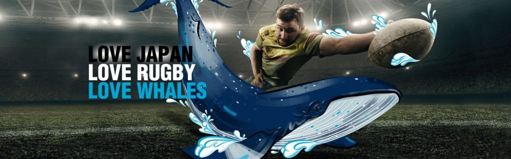 Rugby World Cup love whales banner