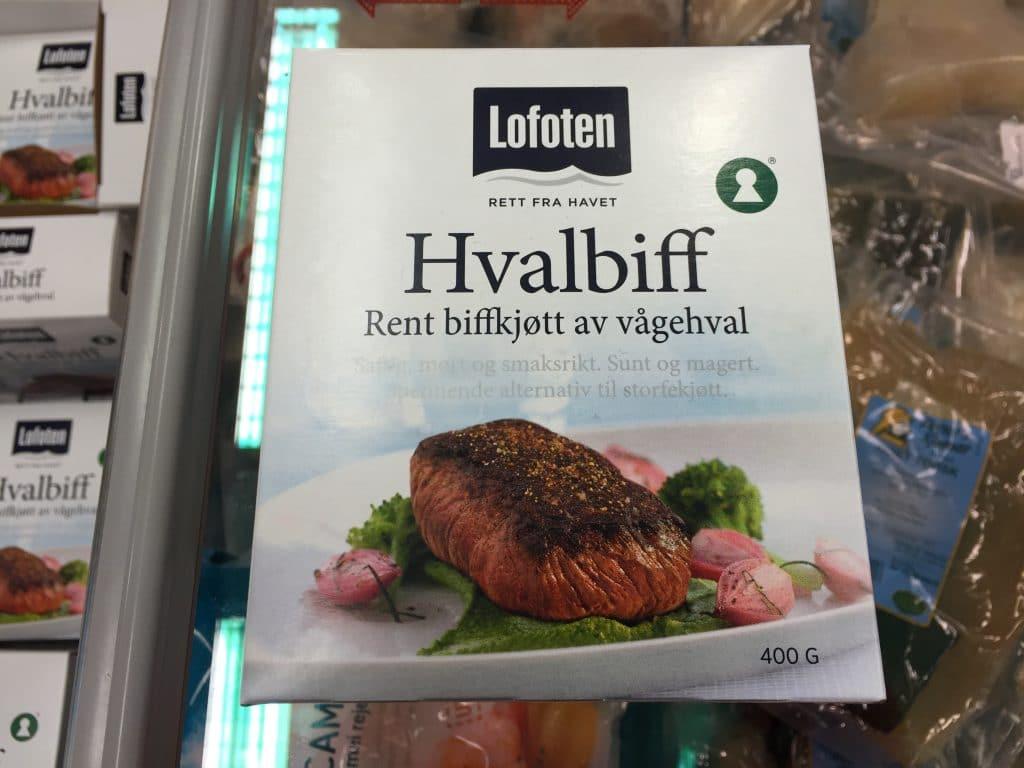 Whale steak for sale in a Norwegian supermarket