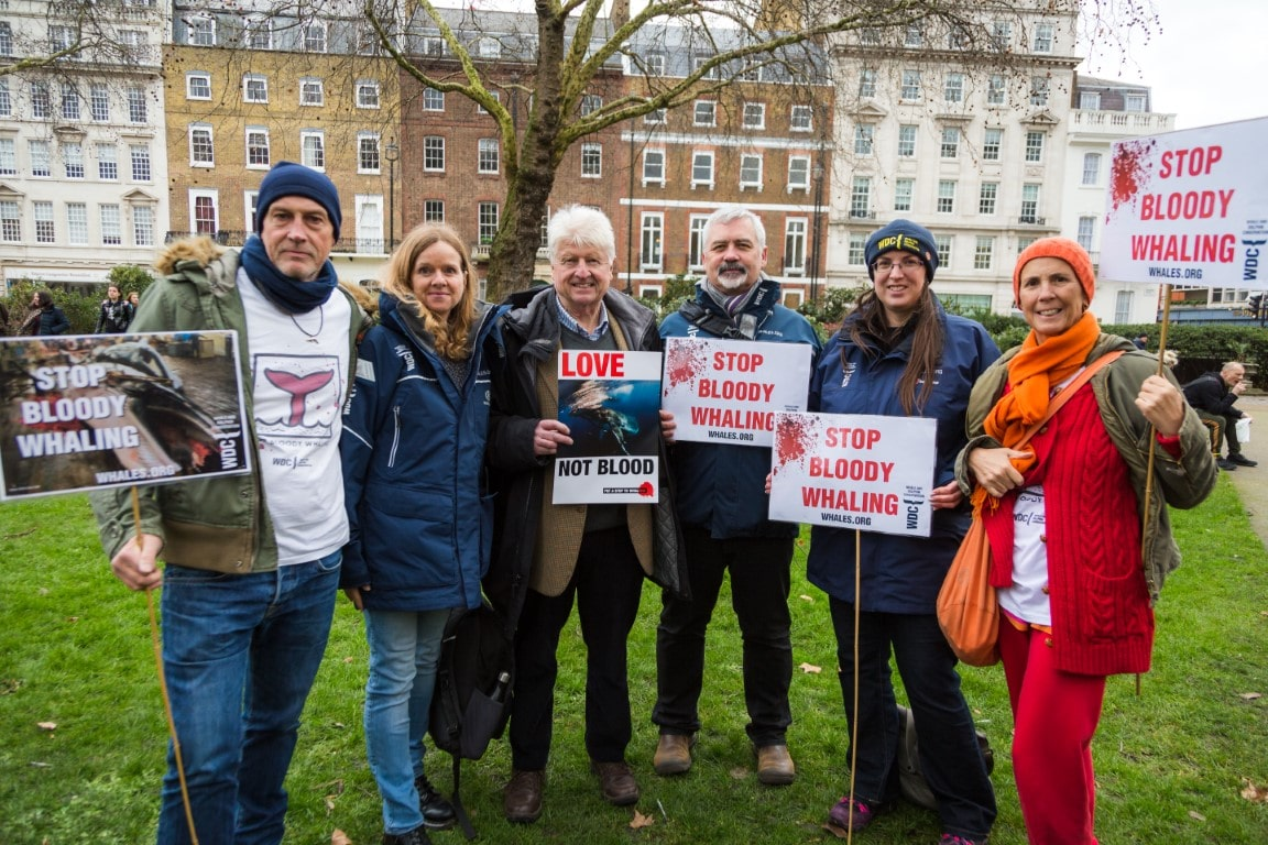 London anti whaling march  - WDC with Stanley Johnson