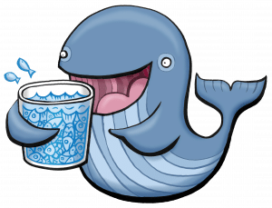 whale drinking glass of fish