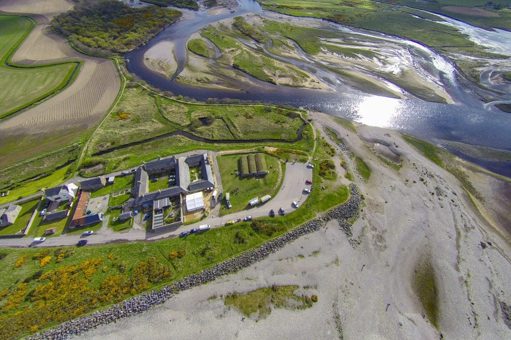 Aerial shot of Scottish Dolphin Centre