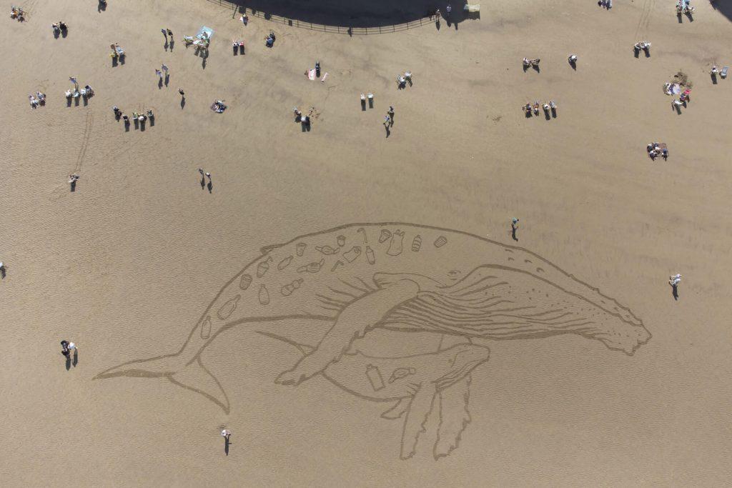 Humpback whale plastic pollution sand art