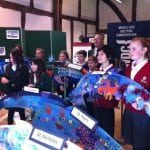 school children with dolphins and Chippenham Deputy Mayor